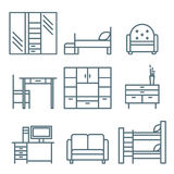 Home Furniture Icons Set Stock Images