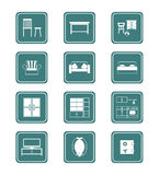 Home furniture icons | TEAL Royalty Free Stock Photography