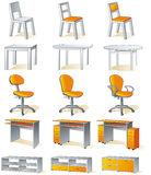 Home furniture isolated - chairs, tables Stock Photos