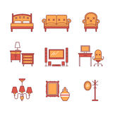 Home furniture signs set. Thin line art icons. Flat style illustrations isolated on white Royalty Free Stock Images