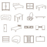 Home furniture types outline icons set eps10 Stock Photos