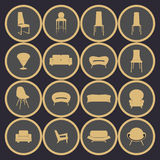 Home furniture, vector.Home interiors vector illustration Stock Photography