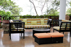 Home Furniture. View of a set of furniture on a tropical deck Stock Photo