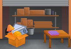 Home garage sale concept background, cartoon style stock illustration
