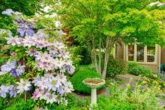 Home garden with antique fountain Stock Photos