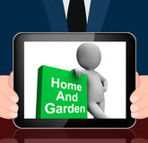 Home And Garden Book With Character Displays Household And Garde Stock Photos