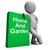 Home And Garden Book With Character Shows Household And Gardenin Royalty Free Stock Photo