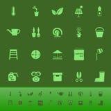Home garden color icons on green backgroundai Royalty Free Stock Photos