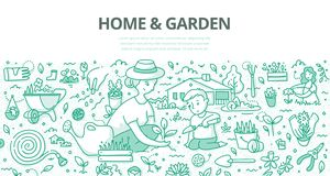 Home & Garden Doodle Concept. Mother and her little son planting flowers and herds in the garden near the home. Doodle concept of gardening for web banner, hero stock illustration