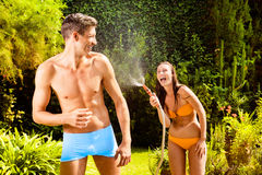 Home garden fun couple Royalty Free Stock Images