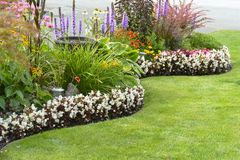 Home Garden. Landscaped home garden with a variety of annuals and perrenials in full bloom royalty free stock photo