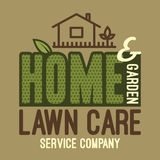 Home and garden lawn care t-shirt. Home and garden lawn care services company, label and t-shirt typographic design Royalty Free Stock Image