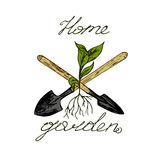 Home garden logo. Inscription home garden, the plants sprout from the roots, two spades, a white background Stock Images