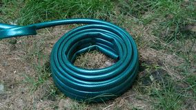 New green rubber hose, which lies in the backyard, is unwind on spiral and pulled forward. stock video footage