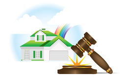 Home and gavel real estate. All elements and textures are individual objects. Vector illustration scale to any size Royalty Free Stock Photo