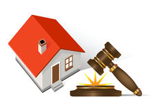 Home and gavel real estate. All elements and textures are individual objects. Vector illustration scale to any size Stock Image