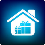 Home gift. Home with gift icon inside Stock Images