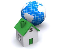 Home and globe of World Stock Photo
