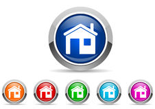 Home glossy icons Stock Photography