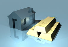 Home and gold bars. Investing on the property or invest in gold Stock Photo