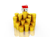 Home with Gold Coin Stock Image