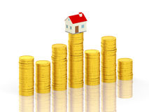 Home with Gold Coin Royalty Free Stock Photos