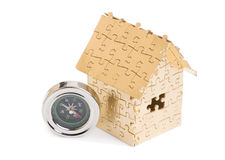 Home of gold color puzzles with a keys. Stock Photography