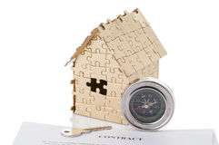 Home of gold color puzzles with a stopwatch Royalty Free Stock Photography