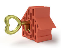 Home with gold key Royalty Free Stock Photo