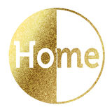 Home in golden. Home text in bright gold Stock Image