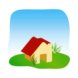 Home Graphic. A symbolic illustration of home and beautiful grass lawn and blue sky Royalty Free Stock Photo