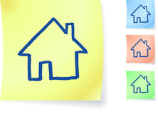 Home graphic on sticky note Royalty Free Stock Image