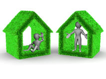 Home from grass and men Royalty Free Stock Image
