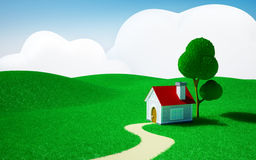 Home on a green field. 3d cartoon landscape, a house on a green field, hills and blue sky with clouds Royalty Free Stock Image