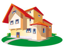 Home green lawn. Illustration house on green lawn Royalty Free Stock Photo