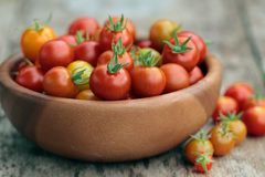 Home grown Cherry Tomatoes in a small basket Royalty Free Stock Photography