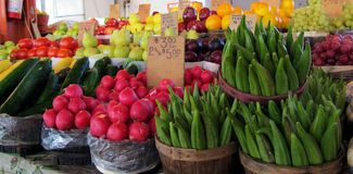 Home Grown Okra. Home grown produce at Dallas Farmers Market Royalty Free Stock Photo