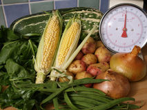 Home grown vegetables. Photographed in the kitchen Royalty Free Stock Image