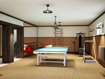 Home gym in the basement with fitness equipment and table tennis Stock Photos
