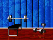Home Gym with Bench Press and Dumbbells royalty free illustration