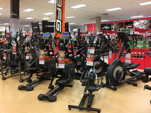 Home gym machines for sale at store Stock Photo