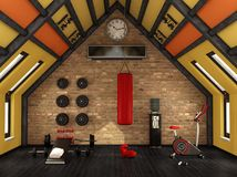 Home gym in the mansard Stock Photos