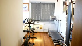 Home gym in modern house. Home gym in modern luxury house stock footage