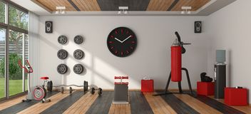 Home gym with sport equipment Stock Photography