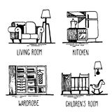 Home2. Hand drawn doodles of home areas such as living room, kitchen, wardrobe, children's room vector illustration