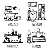 Home2. Hand drawn doodles of home areas such as home office, bathroom, dining room, bedroom stock illustration