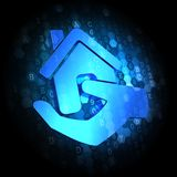 Home in Hand Icon on Digital Background. Royalty Free Stock Image