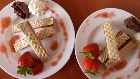 Home hand made wafer with cream and jam Stock Images