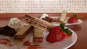 Home hand made wafer with cream and jam Stock Image