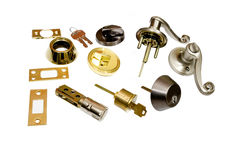 Home hardware  locksmith doors and locks. Home hardware do it yourself locksmith door locks . studio closeup on white background Stock Photos